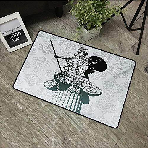 - Corridor door mat W24 x L35 INCH Sculptures,Statue of Athena on Baroque Background Ancient Greek Mythology,Black Dust Pale Turquoise Our bottom is non-slip and will not let the baby slip,Door Mat Carp