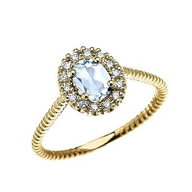 6f8cdbef294b1 14k Yellow Gold Dainty Oval Halo Diamond and Solitaire Aquamarine ...