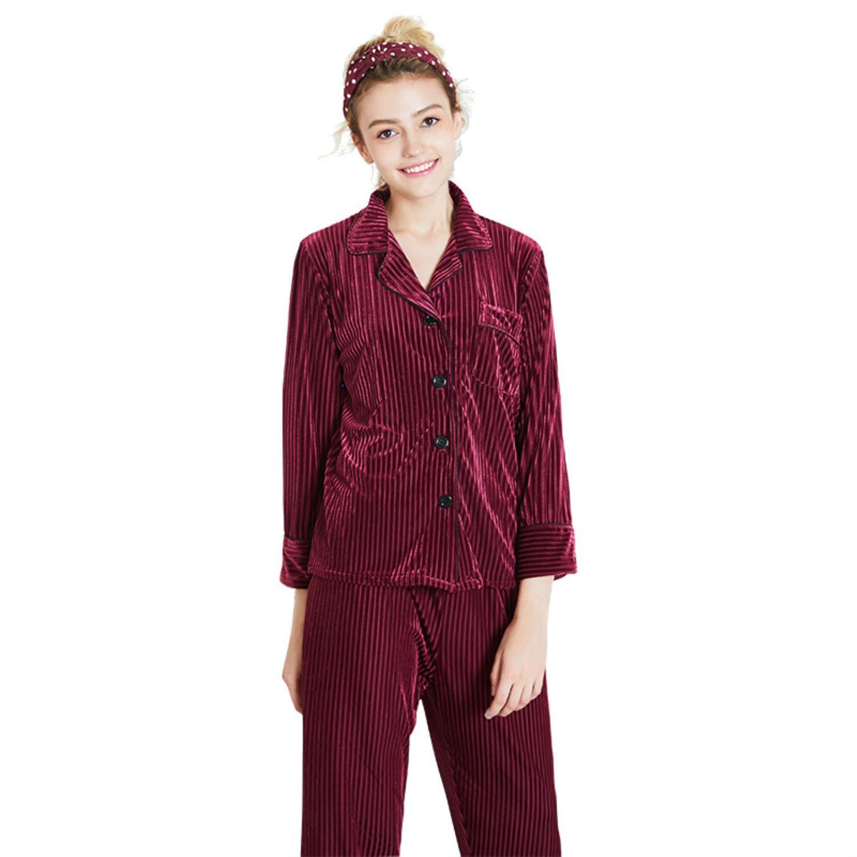 Claret Red Women's Long Pleuche Pajamas nightgownslong Sleeves VNeck and Button Sleepwear Loungewear