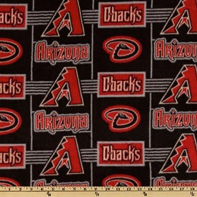 MLB Fleece Arizona Diamondbacks Red/Black/Grey Fabric By The Yard