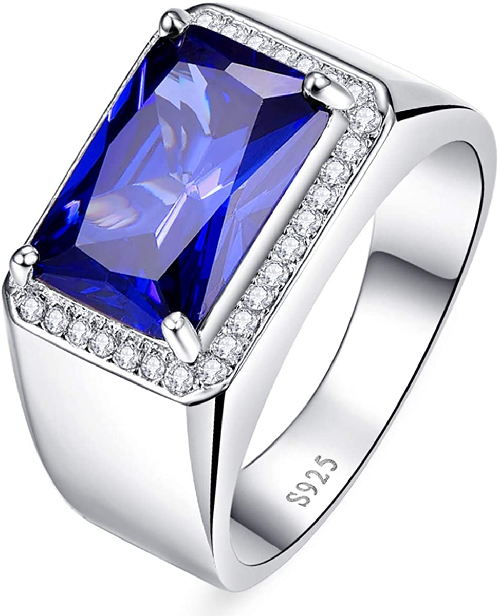Bonlavie Men S Halo Engagement Rings 7 0ct Radiant Cut Created Blue Sapphire Solid 925 Sterling Silver Eternity Wedding Band Size 5 14 Amazon Com