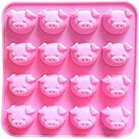 Wicemoon - Molde para Tartas de Silicona Rosa con 16 Moldes de Forma de Cerdito de