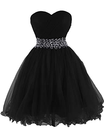 Cdress Tulle Short Homecoming Dresses Crystal Beads Junior Sweetheart Cocktail Prom Gowns US 2