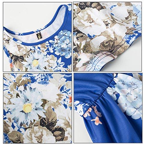 High Round Printed Neck Women Floral Dress Midi Beach Summer Yidarton Blue Waist EIUqx7ww