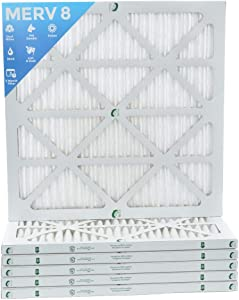 20x20x1 MERV 8 Pleated AC Furnace Air Filters. 6 Pack. Actual Size:19-1/2 x 19-1/2 x 7/8
