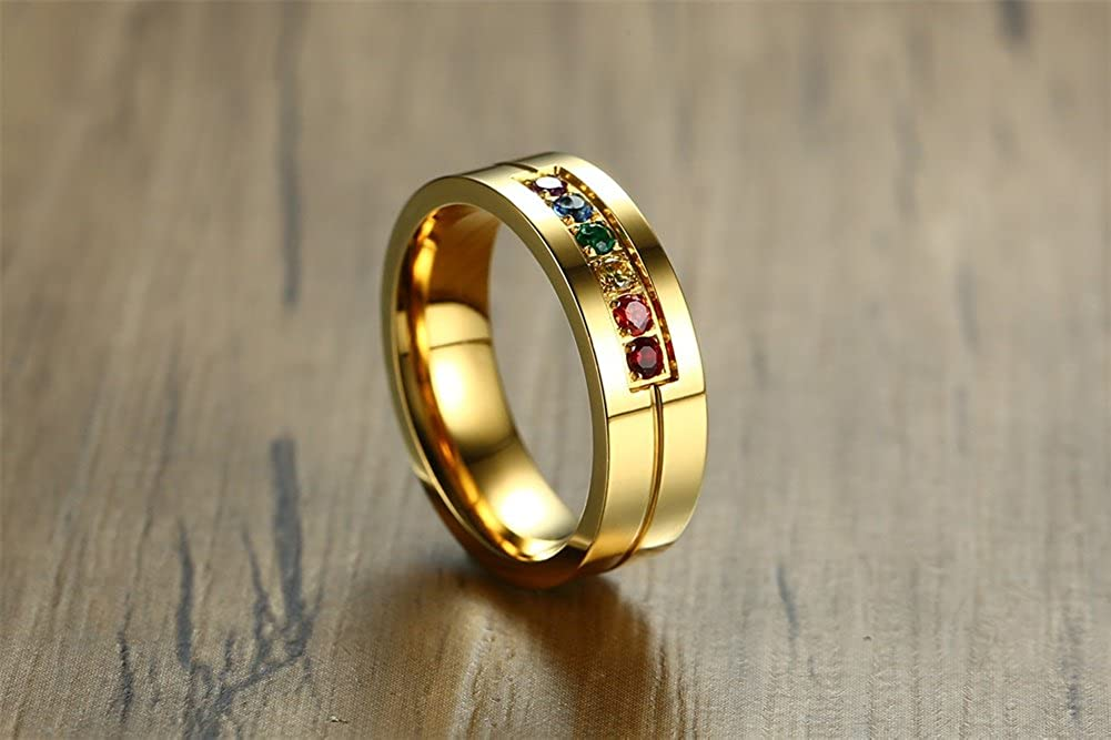 UNISS Gold Plated Rainbow Ring with CZ Gay and Lesbian Pride Ring LGBT Rings for Wedding Engagement