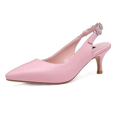 a7d1cffa9e0b2 Amazon.com | Onlymaker Women's Pointed Toe Slingback Rhinestone Ankle Strap Kitten  Heels Pumps Wedding Bridal Dress Shoes | Pumps