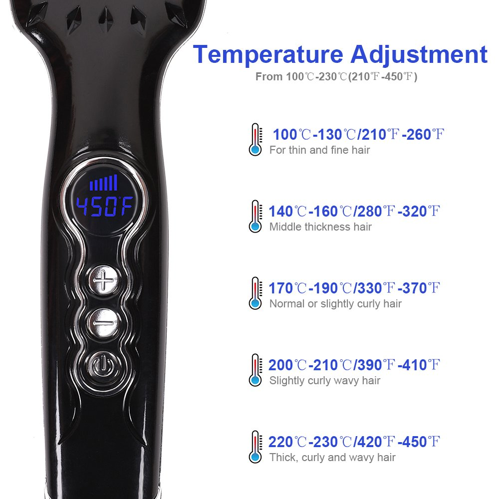 Hair Straightener Brush, OKWINT Ionic Straightening Brush with Anti-Scald Feature,Adjustable Temperatures, Auto-off Function by OKWINT (Image #4)