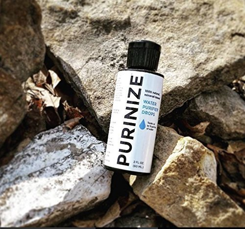 PURINIZE - The Best and Only Patented Natural Water Purifying Solution - Chemical Free Camping and Survival Water Purification 4 Add 20 drops per quart (liter) or 1 tsp. per gallon of water. Shake/stir well & let stand for at least 60 minutes. (Depending on water quality, additio