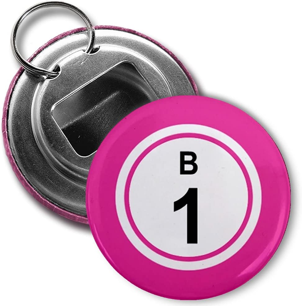 Amazon Com Bingo Ball B1 One Pink 2 25 Inch Button Style Bottle Opener With Key Ring Kitchen Dining