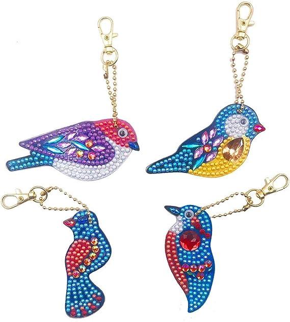 4pcs DIY Special-Shaped Full Drill Diamond Painting Keyrings Key Chain Jewelry