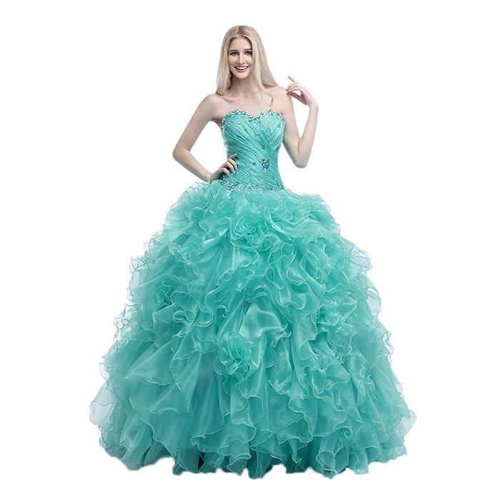 Engerla mujer de novia abalorios volantes vestidos de novia quinceañera de organza vestido, trapecio,