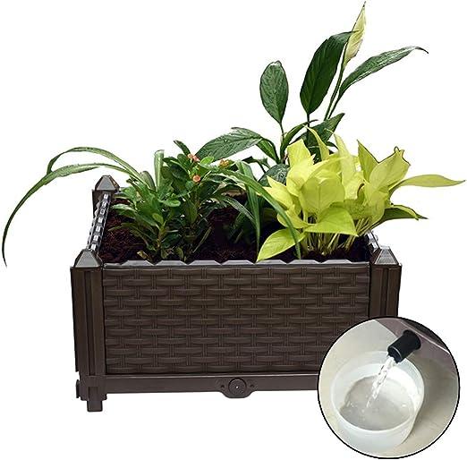 Baffect Macetero de jardineras, Jardinera de Flores de jardín Jardinera de Canal en Forma de ratán Caja de balcón con Drenaje y almacén Macetero de alféizar de Agua para balcón (marrón): Amazon.es: