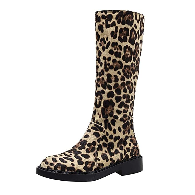 Mymyguoe Botas Mujer Otoño/Invierno, Zapatos Tubo Medio Estampado Leopardo Tacon Plano Cremallera Elegante