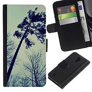 For SAMSUNG Galaxy S4 IV / i9500 / i9515 / i9505G / SGH-i337,S-type® Autumn Somber Forest Sky Dark - Dibujo PU billetera de cuero Funda Case Caso de la piel de la bolsa protectora