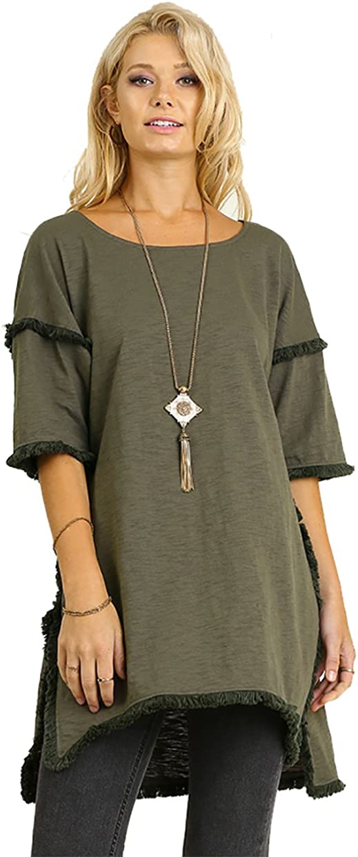 Best Seller Textured Knit Tunic with Fringe Accents