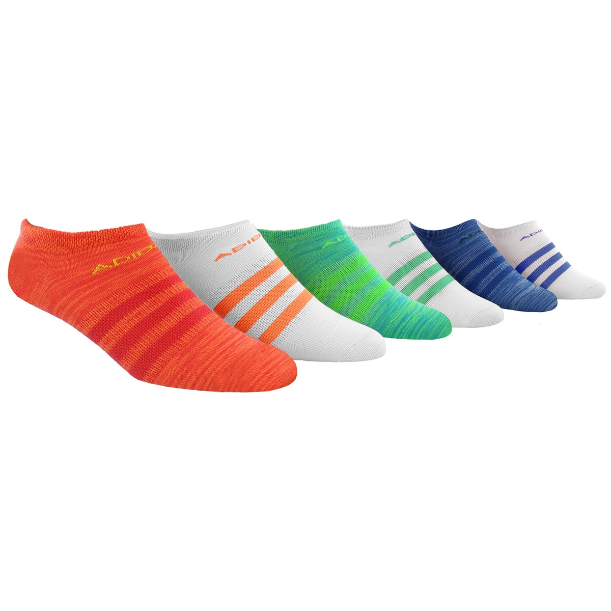 adidas Women's Superlite No Show Socks (6 Pack), Red/Glow Orange/Green/Ray Blue/Ink Purple,Women's Sock size (5-10)