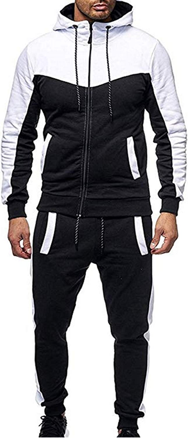 Mens Athletic Tracksuit Sets Full Zip Gradient Jogging Sweatsuits Activewear Top