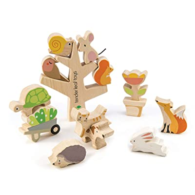 Stacking Garden Friends 14 Piece Wooden Stacking and Balancing Toy & Educational Game WITH FREE TRAVEL BAG- STEM Toy- Early Learning - Develops Strategic Thinking & Fine Motor Skills - Kids 18+ Months: Toys & Games