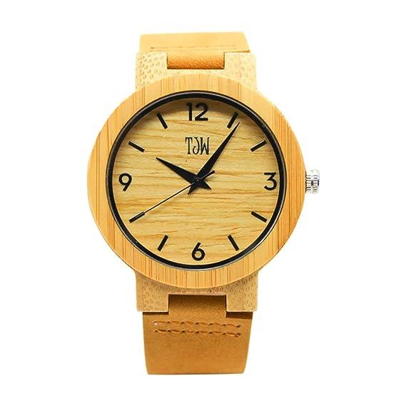 Relojes de madera hombres, Dxlta Sencillo Correa de Cuero de vaca   Casual Reloj de Cuarzo Dial de reloj: Amazon.es: Relojes