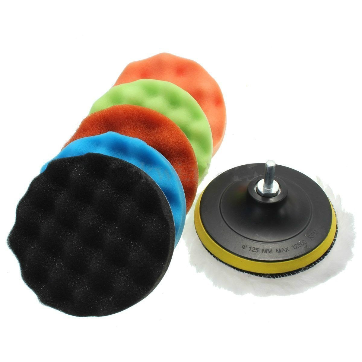 Yosoo Auto Car Polisher Car Polishing Waxing Foam Sponge Buffer Buffing Pads Set (7 inch)