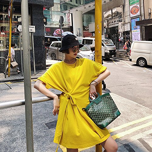 de Jaune Jupe T Nouveau M Robes Style Shirt MiGMV lache Long Robe Tache Mince 2018 Courte Jupe aqgXnw