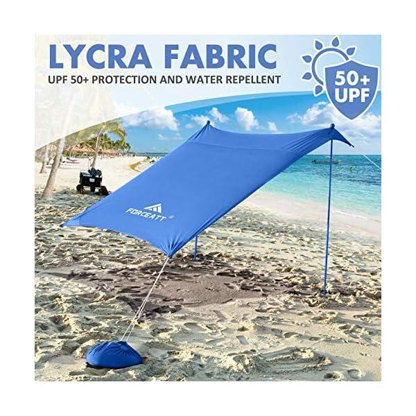 61inR%2B RTAL Forceatt Strandzelt Sonnenschutz, Pop-up Strandzelt mit UPF50+ UV-Schutz und 2 Stücke Aluminiumstangen, Außenschutz für…