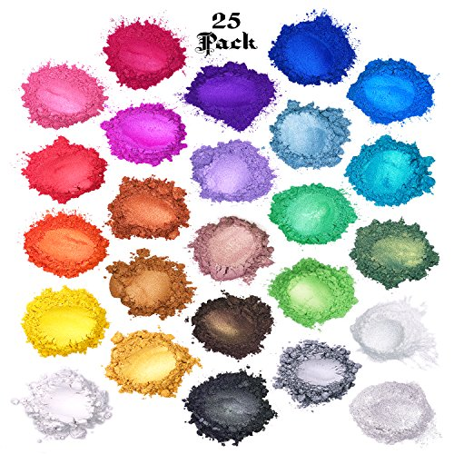 Over Color Mineral Makeup - Mica Powder : Soap Making Dye : Bath Bombs Colorant Set : Cosmetic Grade MakeUp : Powdered Pigments Color Kit : Nail Art & DIY Nail Polish : 100g 25 Colors by Dragon Dust Pigment