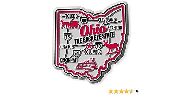 Ohio the Buckeye State Premium Map Fridge Magnet