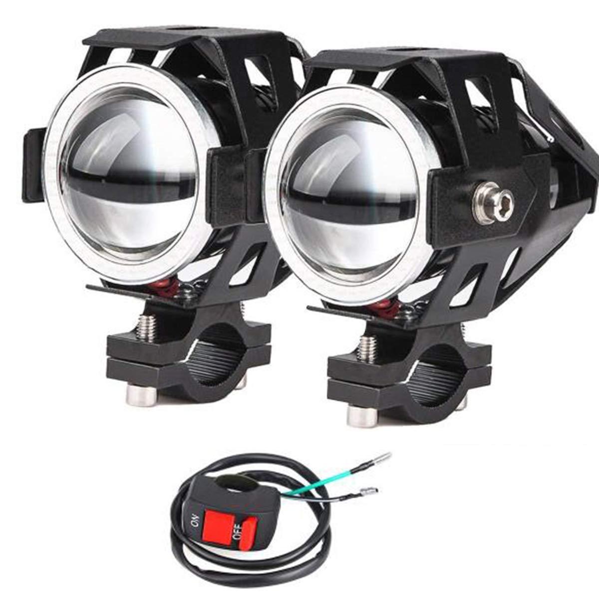 2x Motorrad Scheinwerfer mit Angel Eyes Lichter CREE U7 DRL Nebelscheinwerfer fü r Autos Fahrrad Boot ATV Frontscheinwerfer High/Dim / Strobe 3 Modi 6500K Weiß e Farbe Schalter enthalten POCKETMAN