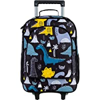 Kids Suitcase, Dinosaur Rolling Luggage with Wheels for Boys - Black