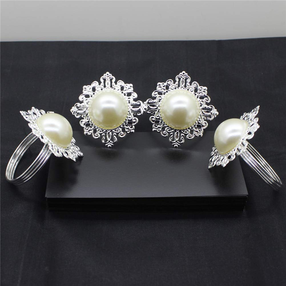 Culturemart 6pcs Table Decoration Accessories Pearl Napkin Rings Luxury Rhinestone Napkin Rings for Weddings Party Decorations