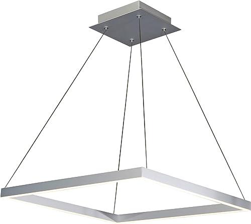 VONN VMC31620AL Atria 20 , Adjustable Suspension Fixture, Modern Square Chandelier Lighting in Silver Integrated LED, 19.75 L x 19.75 W x 120 8.75 H