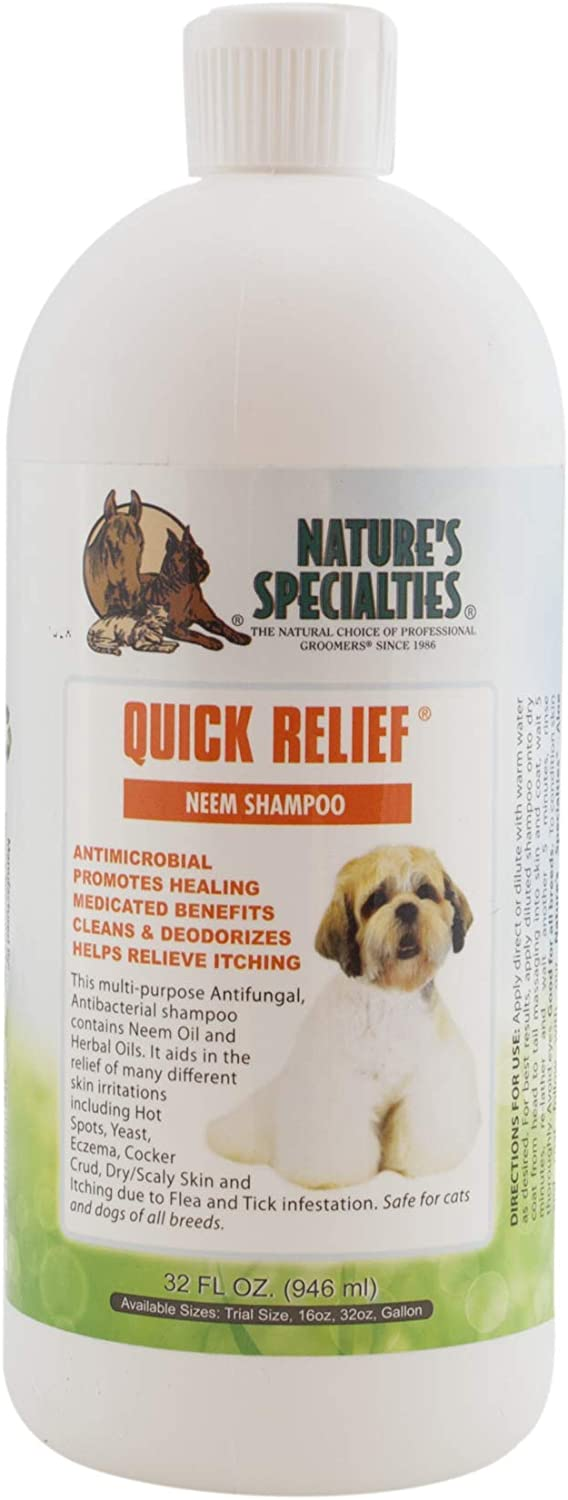 Nature's Specialties Quick Relief Neem Shampoo for Dogs Cats, Non-Toxic Biodegradable