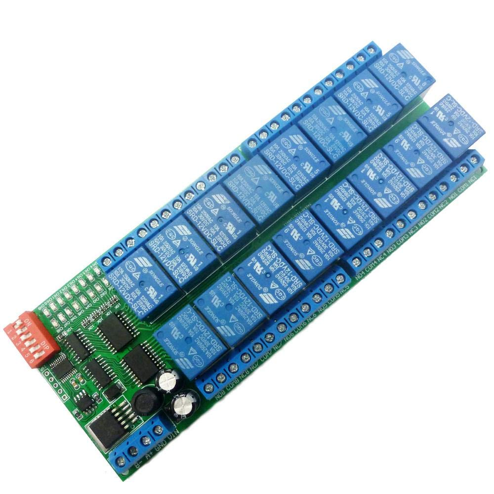 Eletechsup 16 Channel DC 12V RS485 Relay Module Modbus RTU 485 Remote Control Switch Board for PLC PTZ Camera Motor