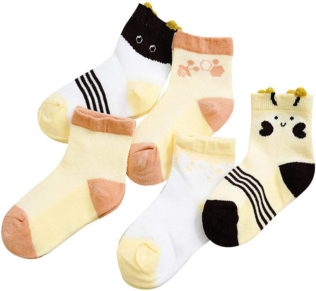 Vertily Childrens Cartoon Mesh Breathable Sweat Socks Short Socks Five Pairs A Pack Kids Infant Baby Boys Girls Breathable Cartoon Animals Anti-Slip 5 Pairs Socks