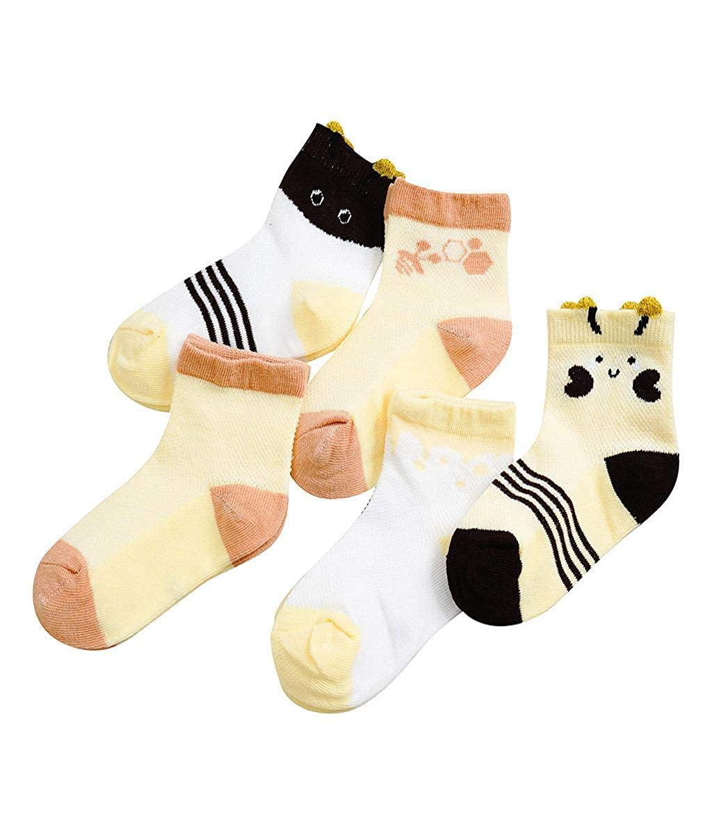 Vertily Childrens Cartoon Mesh Breathable Sweat Socks Short Socks Five Pairs A Pack Kids Infant Baby Boys Girls Breathable Cartoon Animals Anti-Slip 5 Pairs Socks