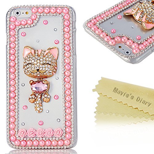 Plus Case, Iphone 6 Case- Mavis's Diary 3D Handmade Bling Crystal Golden Smile Lovely Cat Sparkle Rhinestone Diamond Pink Pearl Clear Case Hard Cover for Sony Xperia Z2 2014 with Soft Clean Cloth