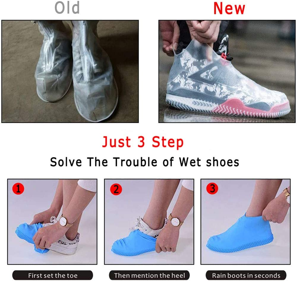 Silicone Waterproof Shoe Covers Rain Socks Snow Reusable Foldable Non-Slip Shoes Boots Shoes Covers Overshoe for Indoor ZOEAST Rain Shoes for Men /& Women /& Children TM Grassland