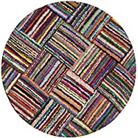 Safavieh Nantucket Collection NAN318A Handmade Abstract Multicolored Cotton Round Area Rug (4 Diameter)
