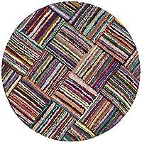 Safavieh Nantucket Collection NAN318A Handmade Abstract Multicolored Cotton Round Area Rug (4 Diameter)