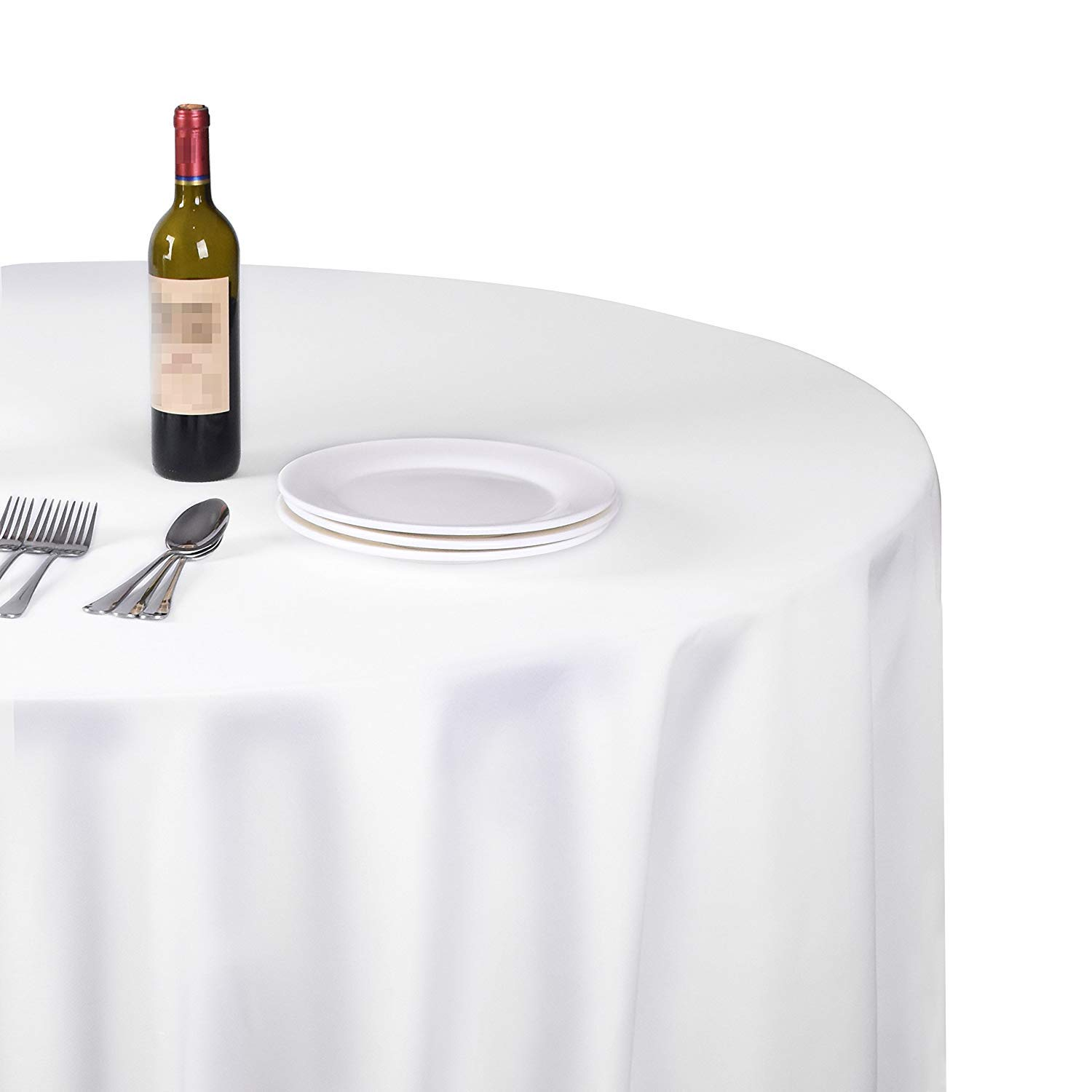 EMART Round Tablecloth, 120 inch Diameter White 100% Polyester Banquet Wedding Party Picnic Circle Table Cloths (6 Pack) by EMART