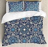 Arabian Duvet Cover Set by Ambesonne, Floral Antique Tile Pattern Decorative Delicate Ornamental Design Artistic Print, 3 Piece Bedding Set with Pillow Shams, King Size, ?ndigo Cream