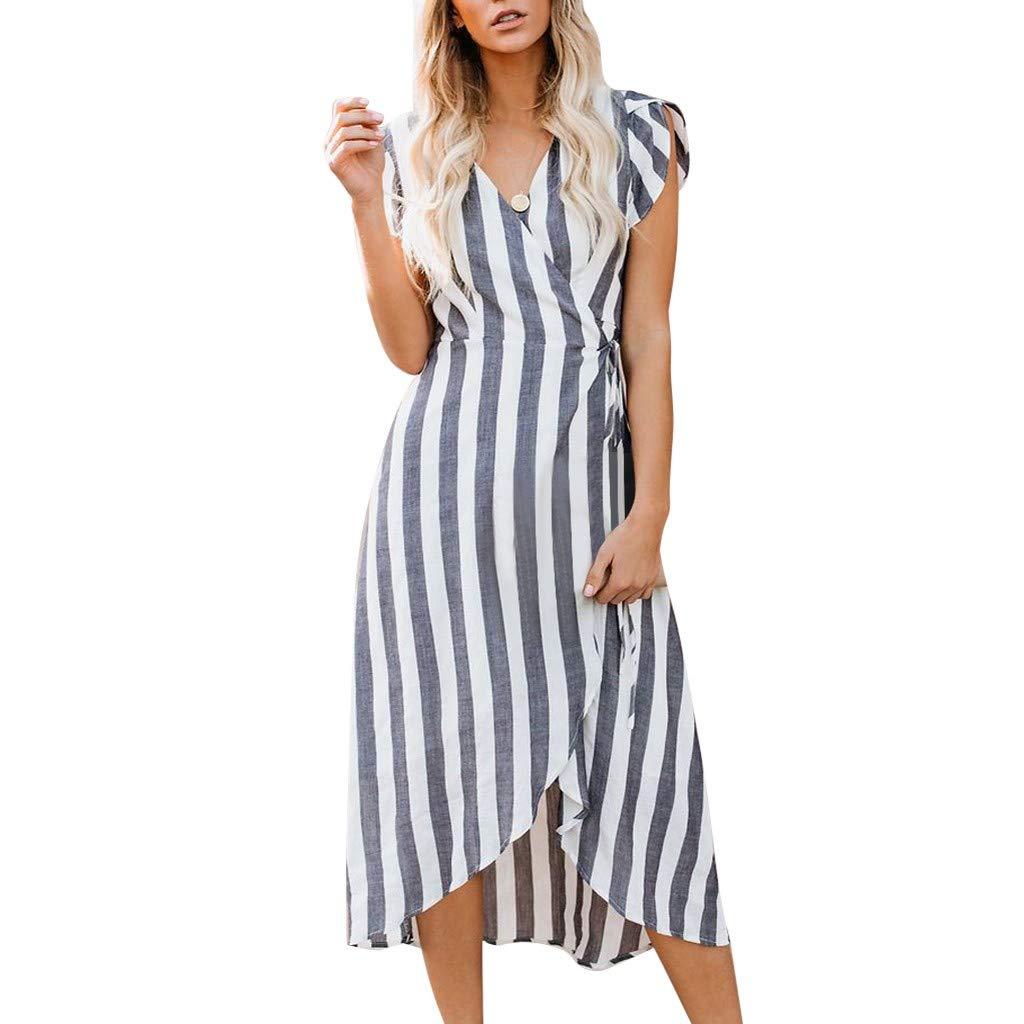 ❤AG&T❤ Frauen Kleid ╬╬ Sommerferien Riemchen Gestreifter Print Lange Boho Strand Maxi Mode Sommerkleid