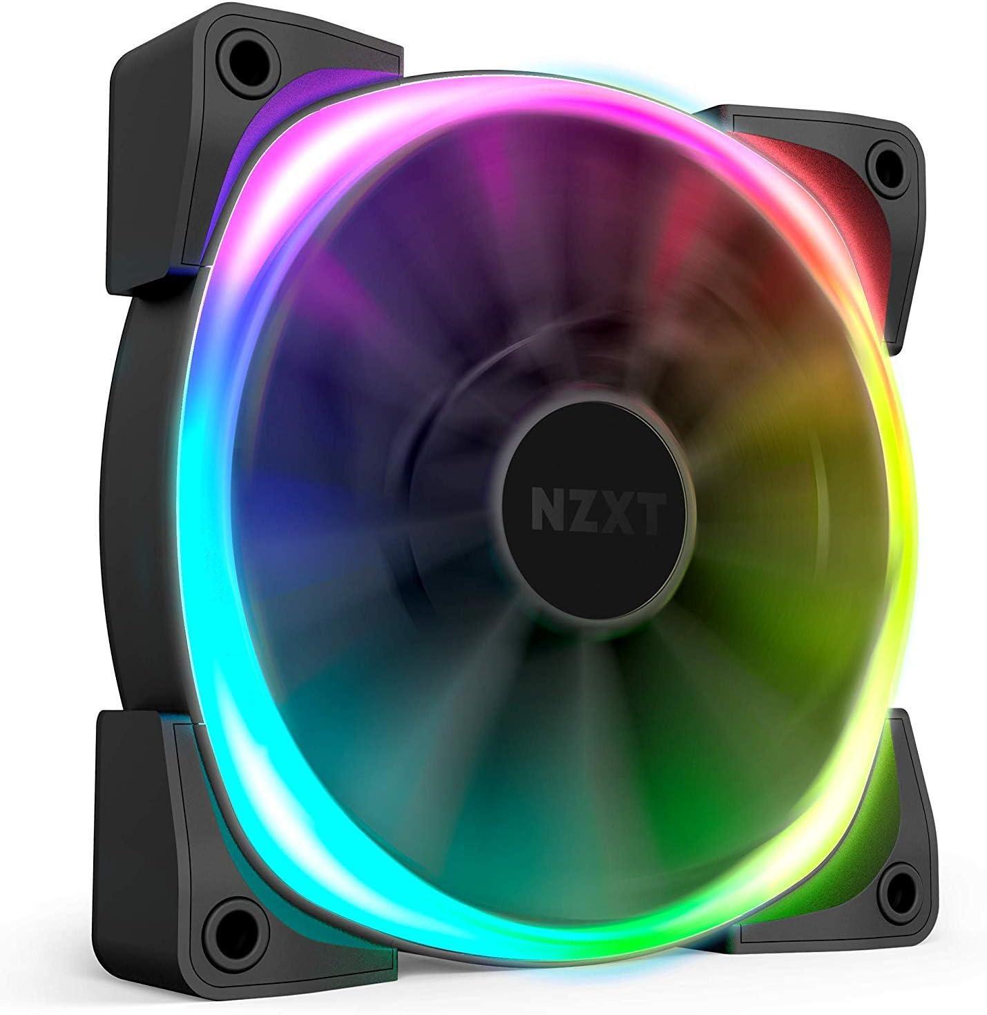 NZXT AER RGB 2 - 120mm - Ventilador RGB LED PWM compatible con HUE 2 - Aspas en forma de aleta - Rodamientos de fluido dinámico - Único (controlador de iluminación HUE2 no incluido)