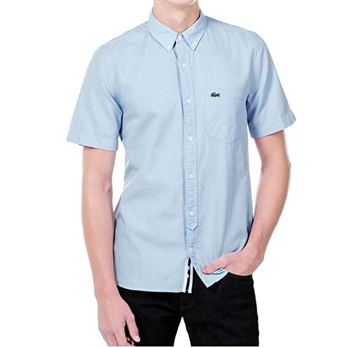 d4c0829d4d0 Lacoste Camisa Manga Corta Live1 Azul Blanco Talla  M L US