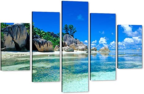 Amazon Com Art Print Ocean Big Rocks Green Trees Beautiful Colorful Tropical Landscape Scene Giclee Canvas Prints Paintings Pictures 5p Seychelles Islands Scenery Wall Art Gallery Wrapped Easy To Hang 60 Wx40 H Posters Prints