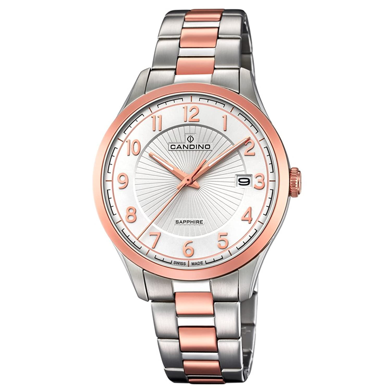 Candino Armbanduhr fÜr Herren Saphir analog Elegant mit Edelstahl-Armband silber kupfer rosÉgold Quarz-Uhr UC4609-