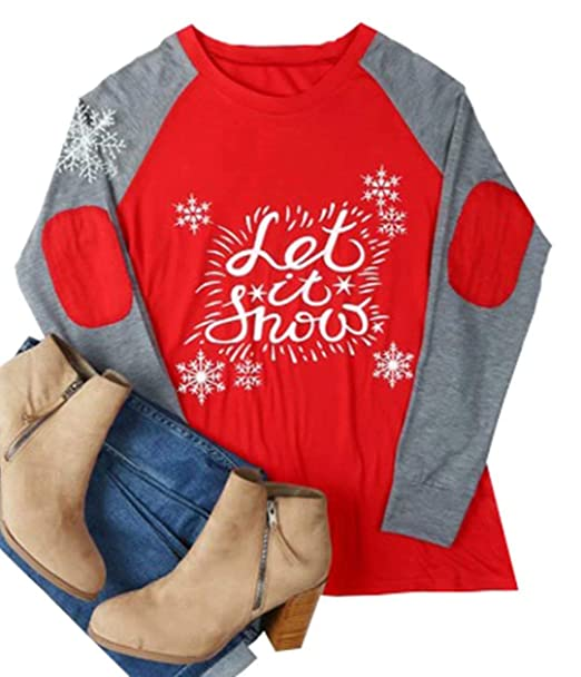 eb49d50b74 Amazon.com: MNLYBABY Women Christmas Let It Snow Elbow Patch Baseball T- Shirt Xmas Snowflake Print Long Raglan Sleeve Splicing Tops Tees: Clothing