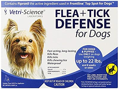 VetriScience Laboratories Flea + Tick Defense for Dogs and Puppies Upto 22-Pound, 3 Doses